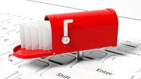 Red mailbox with with envelopes Stock Photography