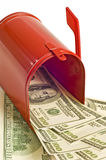 Red Mailbox Full of Money Royalty Free Stock Images