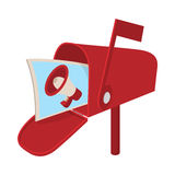 Red mailbox icon with megaphone poster, cartoon Royalty Free Stock Photos