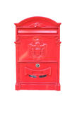 Red mailbox. Isolated on white background Stock Photo