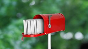 Red mailbox with letters on abstract Royalty Free Stock Photo