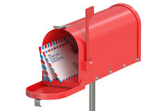 Red mailbox with letters Royalty Free Stock Photos
