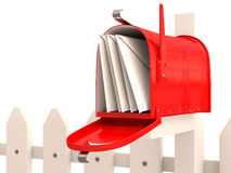Red mailbox with mail Stock Photos