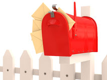 Red mailbox with mail Royalty Free Stock Photography