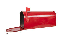 Red Mailbox On White With Flag Stock Image