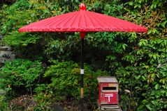 Red mailbox and umbrella Royalty Free Stock Images