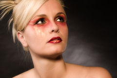 Red make up. Close up of beautifull models face stock photo