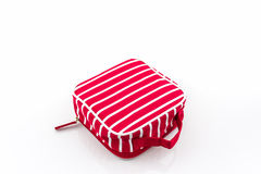 Red makeup bag, accessory. Royalty Free Stock Image