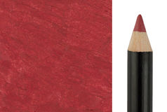 Red Makeup pencil with sample stroke Stock Images