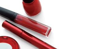 Red makeup set royalty free stock images