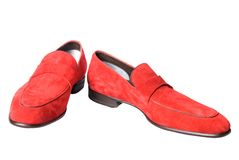 Red male leather shoes isolated on white Royalty Free Stock Image