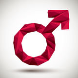 Red male sign geometric icon made in 3d modern style, best for u Royalty Free Stock Photos