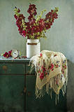 Red mallows and cherry. Still life with the bouquet of mallows and cherry Stock Photography
