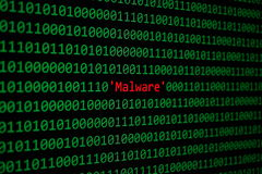 Red Malware and Binary code Concept Security and Malware attack. Red Malware and Binary code, Concept Security Malware and RansomWare attack royalty free stock images