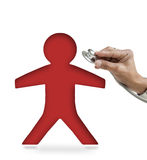 Red man and doctor hand on white Royalty Free Stock Photos