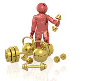 Red man with dumbbell Stock Photography