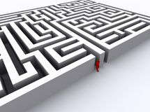 Red man found an exit out of the maze. Red man finally found an exit out of the maze Royalty Free Stock Photography