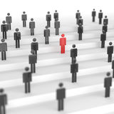 Red man. Leadership concept, red leader man, standing out from the crowd of black mans, on white background. 3D rendering Stock Photo