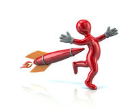 Red man and rocket Stock Images