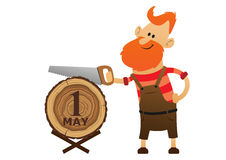 Red man sawing a log saw Royalty Free Stock Images