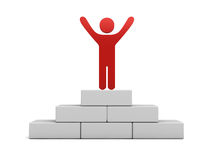 Red man standing with arms wide open on the top of winning podium. 3D rendering Royalty Free Stock Photo