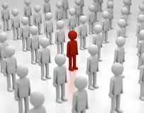 Red Man Stands out from the Crowd. 3D rendering of a red person amongst other grey ones Royalty Free Stock Photos