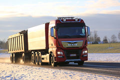 Red MAN Sugar Beet Transport Truck on Early Winter Road Royalty Free Stock Image