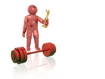 Red man with weight Royalty Free Stock Photo