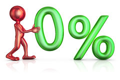 Red man and zero percent Royalty Free Stock Image