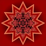 Red mandala for energy and vitality. Red mandala for energy and vitality obtaining, circle symmetric patterns in star shape, 3d illusion in optical art style Royalty Free Stock Photography