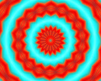 Red mandala, shapes and forms, abstract background. Orange mandala and geometric shapes on blue background. Abstract design vector illustration