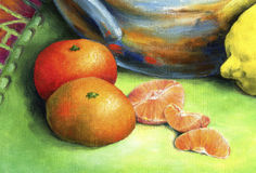Red mandarin painted in oil on canvas. Royalty Free Stock Photography
