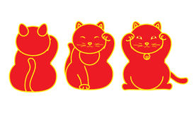 Red Maneki neko / neco set, a cat with a raised paw Japanese luck symbol,  illustration, with coin, fish. Red Maneki neko neco set, a cat with a raised paw Stock Photos