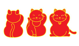 Red Maneki neko / neco set, a cat with a raised paw Japanese luck symbol, vector illustration, with coin, fish Stock Images