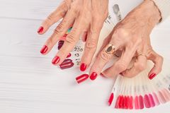 Free Red Manicure And Red Nail Sample. Stock Image - 119267271