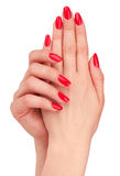 Red manicure Stock Image