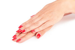 Red manicure Stock Photos