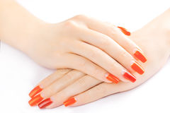 Red manicure isolated the white Stock Images
