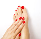 Red manicure and pedicure. Close-up Stock Photos