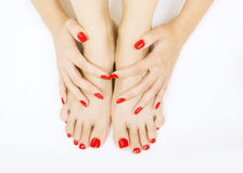 Red manicure and pedicure. Female foots with red pedicure and hands with red manicure stock images