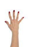 Red manicured female open hand gesture number five fingers up Royalty Free Stock Photos
