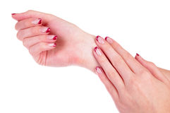 Red manicured nails Royalty Free Stock Photography