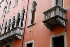 Red Mansion in Corso Palladio in Vicenza in Veneto (Italy) Stock Photography