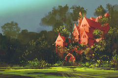 Red mansion in the woods. Illustration painting stock illustration