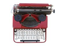 Red manual typewriter. Antique manual typewriter isolated on white stock images