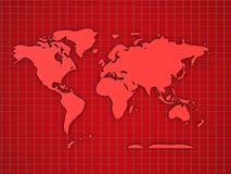 Red map background. 3d illustration of red map background with grid Stock Image