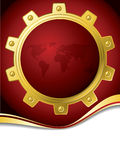 Red map brochure with gold cogwheel Stock Image