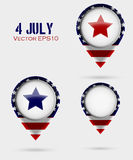 Red Map Markers. 4 July Theme Stock Images