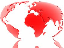 Red map of our earth (just find more in my portfolio). Red map of our earth Stock Photography
