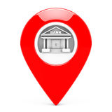 Red Map Pointer with Bank Target. 3d Rendering Royalty Free Stock Image